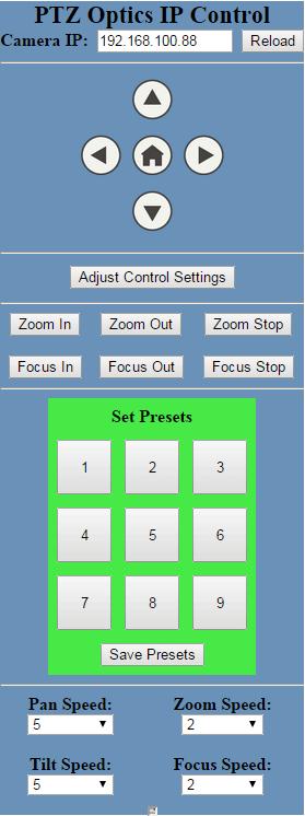 PTZOptics IP Control GUI 3