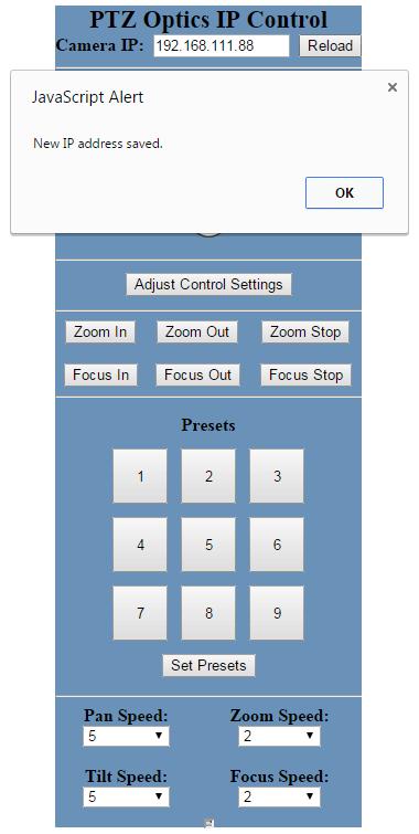 PTZOptics IP Control GUI 4