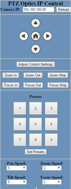 PTZOptics IP Control GUI