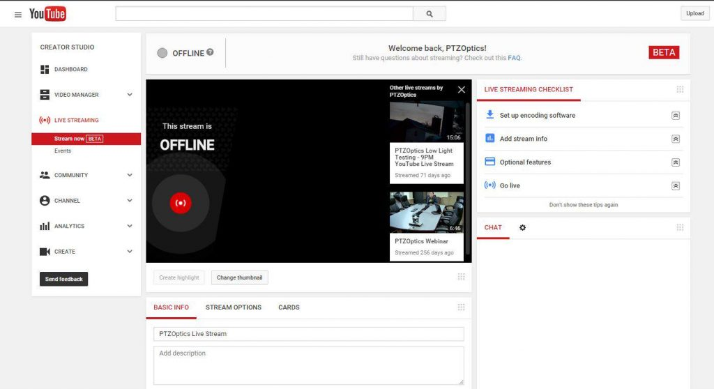 Scheduling a Live Stream with YouTube Live