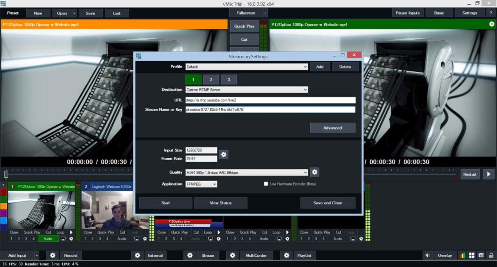 Using VMix for live streaming and video conference call