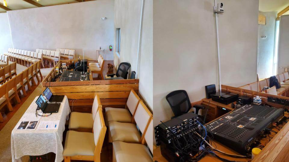Example PTZ camera and worship service setup