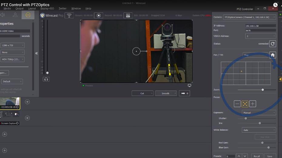 PTZ Camera Wirecast Controls